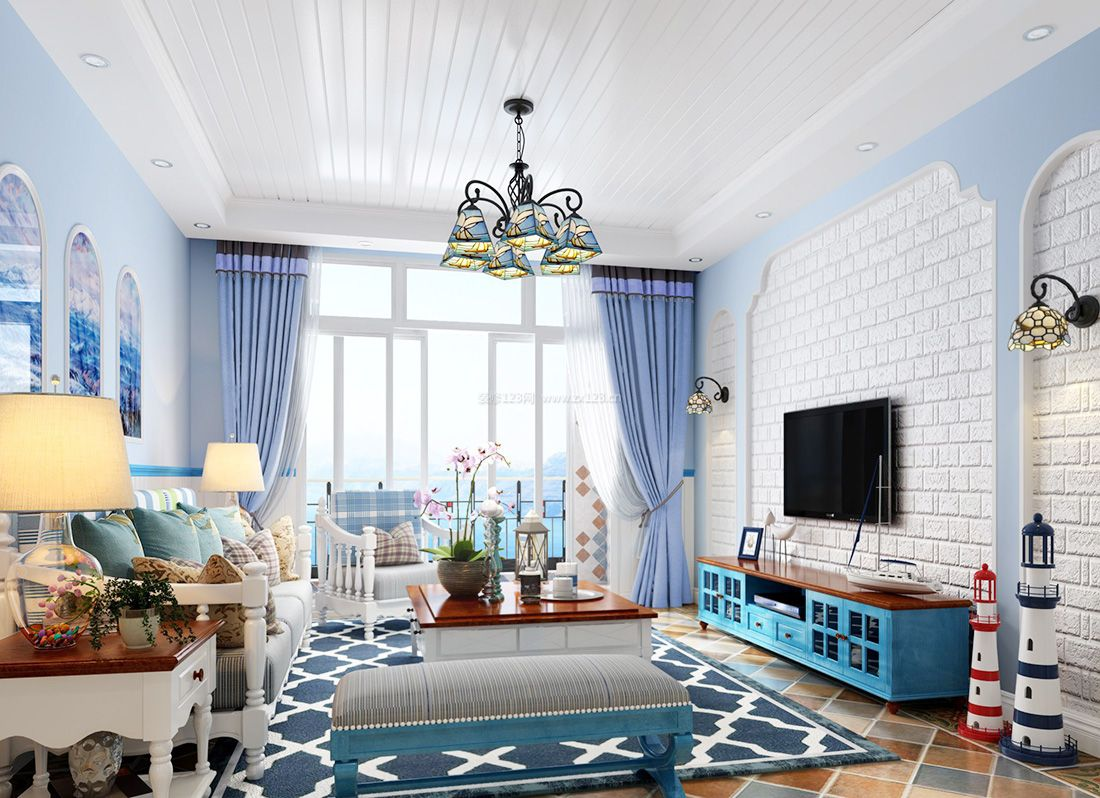 2017地中海风格客厅蓝色电视柜设计图片大全