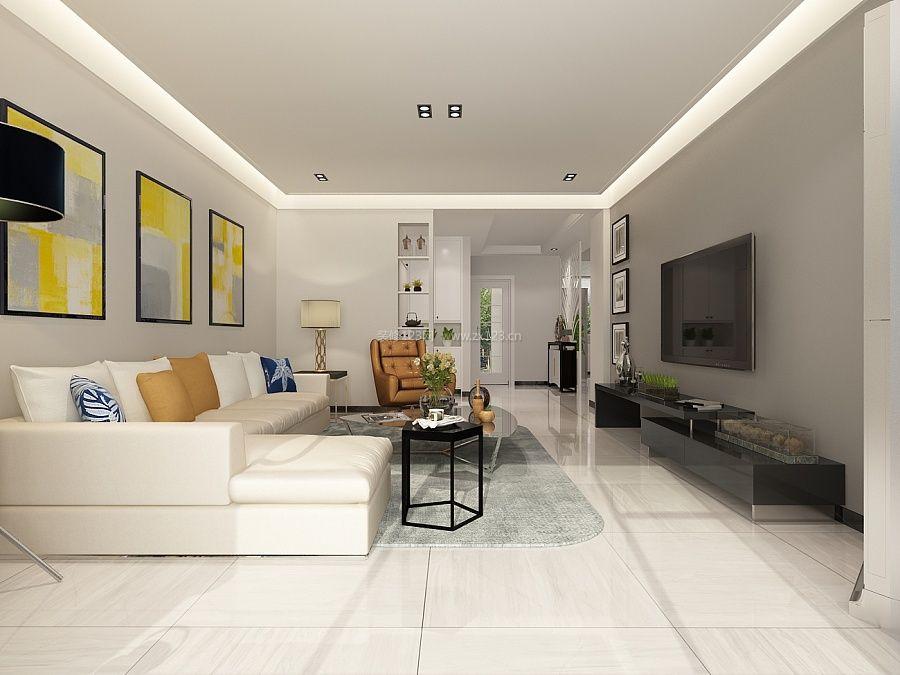 90平米三房两厅客厅装饰画装修图片大全