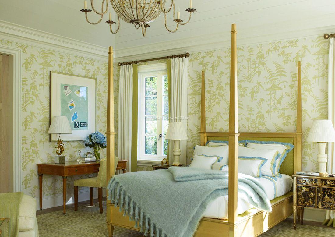 简约美式风格样板间卧室木床装修效果图片