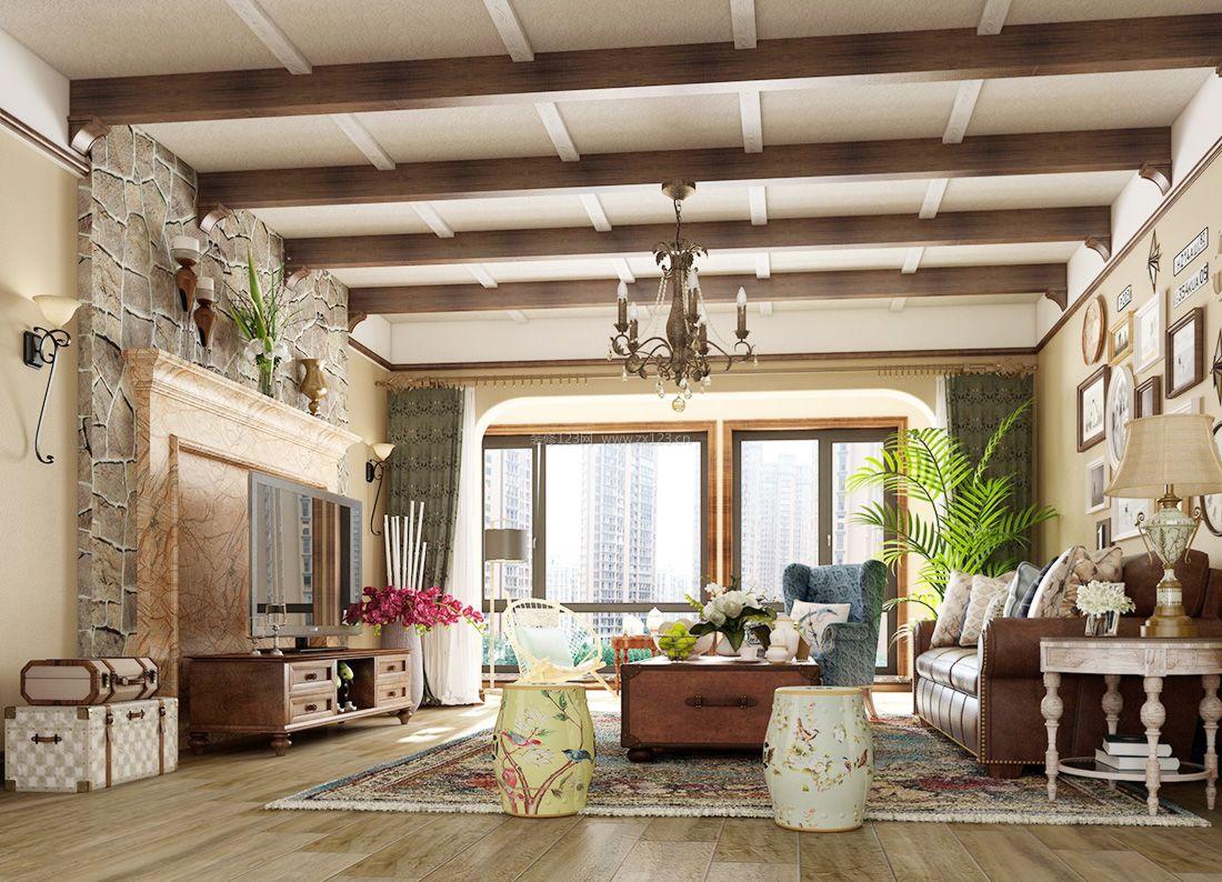 2017美式风格别墅样板间客厅装修效果图图片