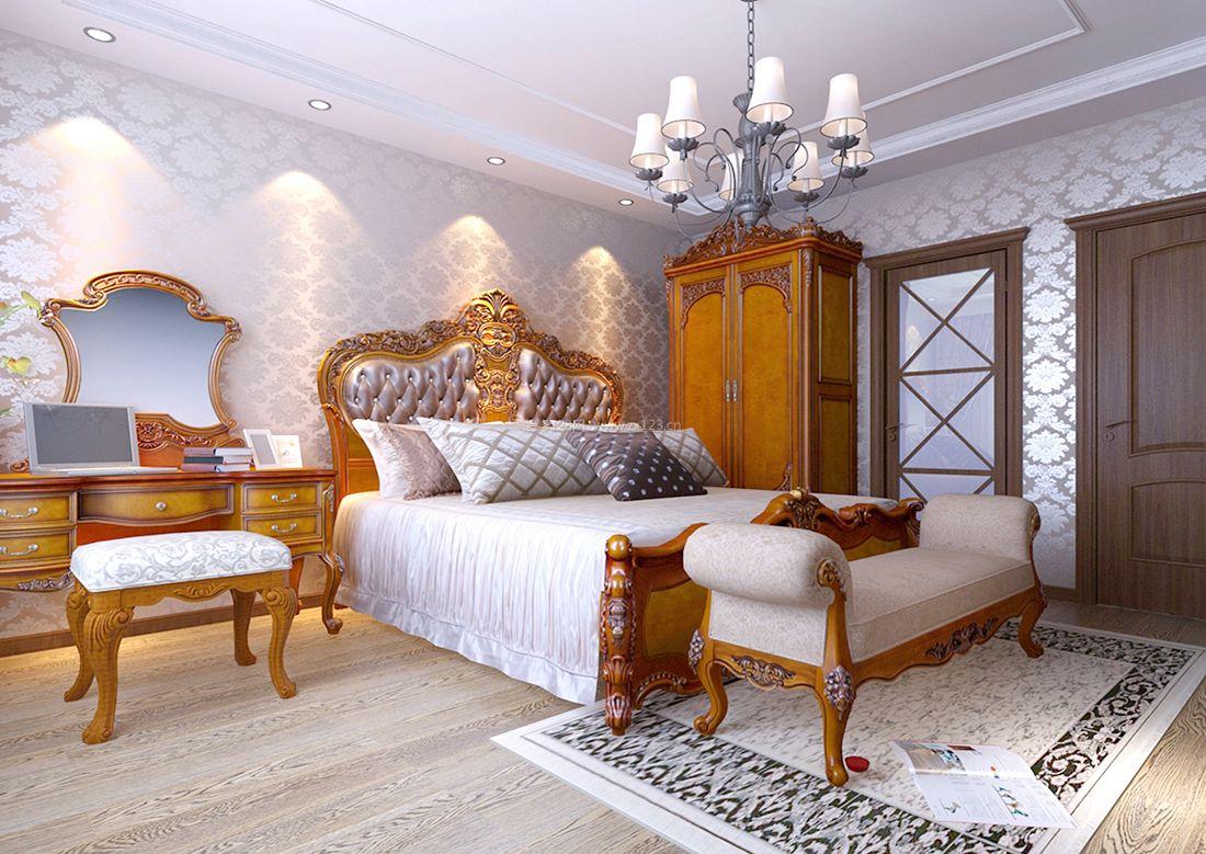 2017美式风格样板间卧室衣柜装修效果图案例图片