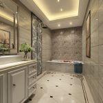 欧式别墅室内浴室整体浴室柜装修图片_装修123效果图