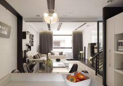 現代簡約黑白風格復式樓裝飾效果圖