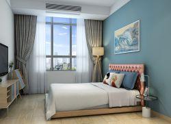 地中海風格臥室藍色墻面裝飾圖片