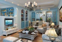 地中海風格小戶型藍色客廳裝修設計圖片