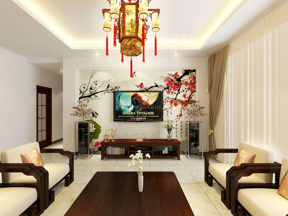 新中式客厅电视背景墙装修效果图欣赏图片