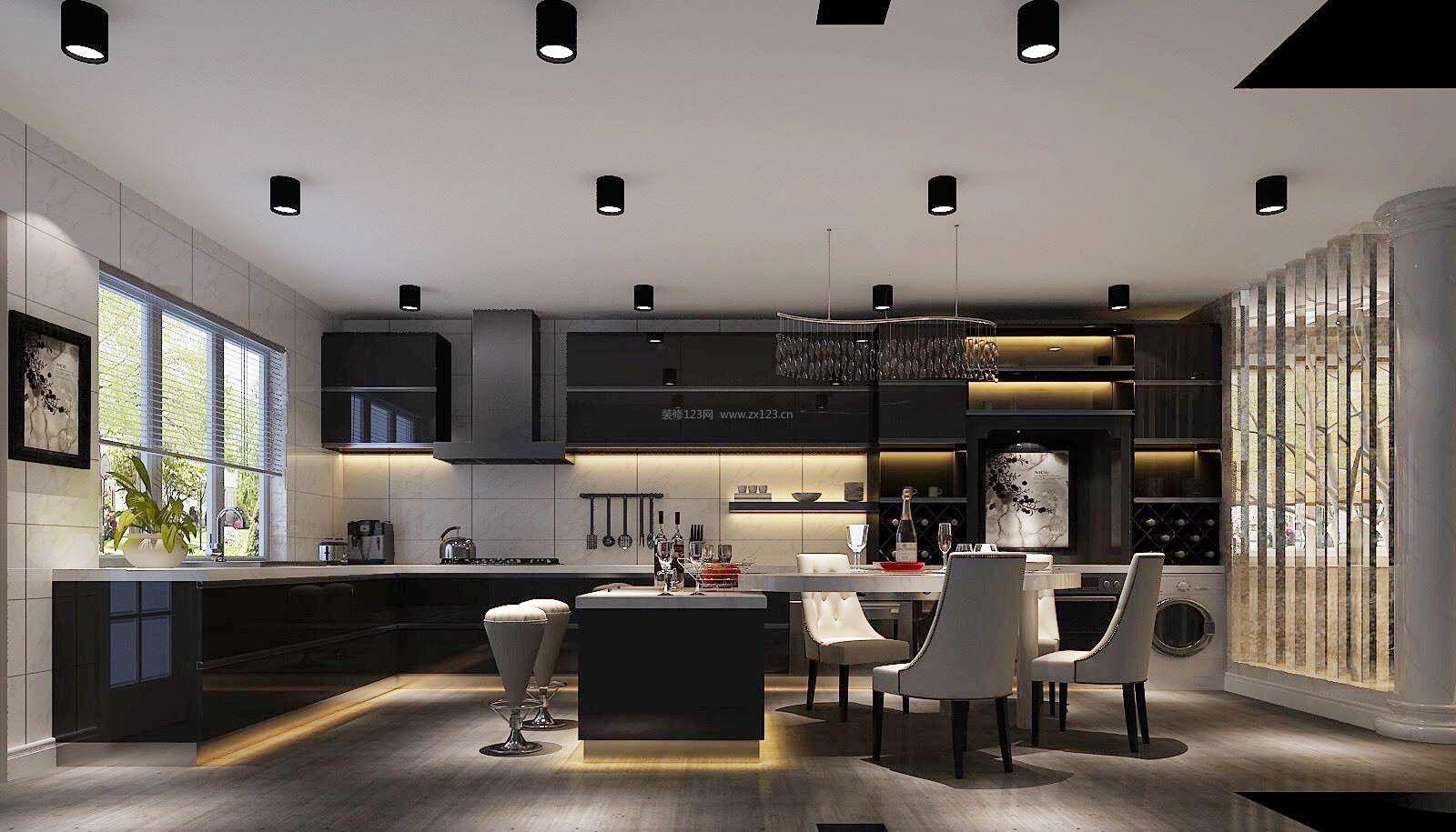 房子后现代风格开放式厨房装修效果图片