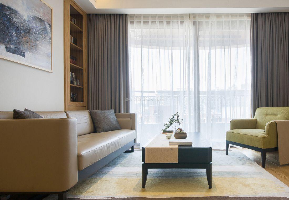 6万75平米现代简约风格客厅纯色窗帘装修效果图片