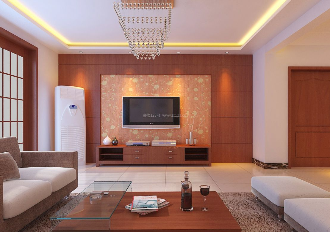 简约中式风格50平米客厅装修效果图片2017
