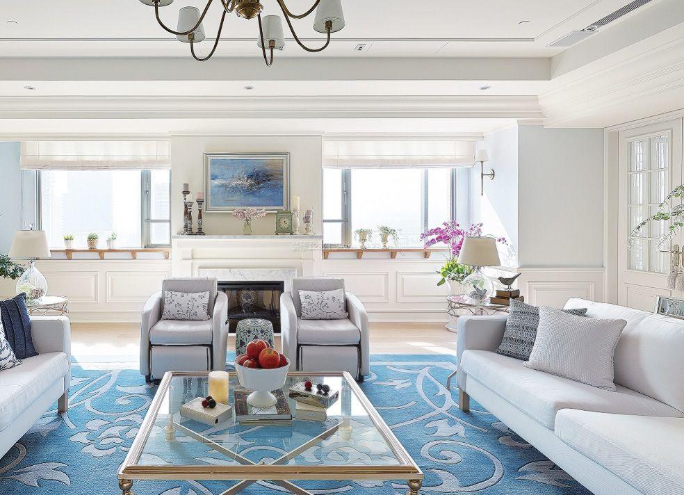 美式室内客厅组合沙发摆放图2017_装修123效果图图片