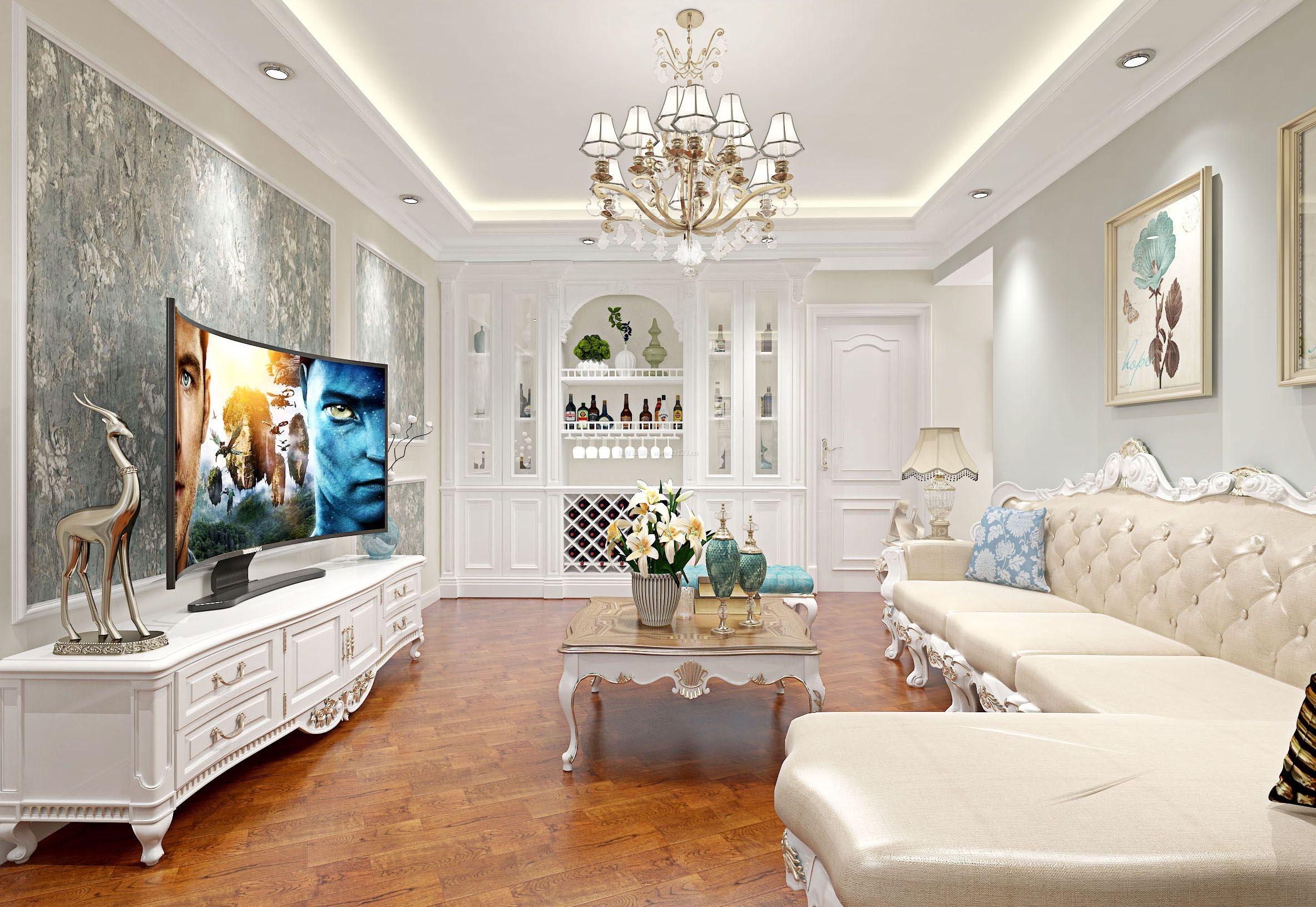 最新欧式风格140平方房子客厅装修设计图片大全