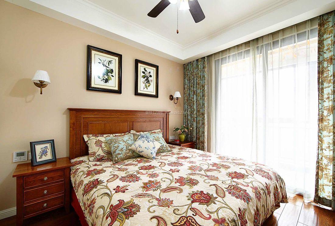 美式室内简约卧室窗帘装修效果图2017