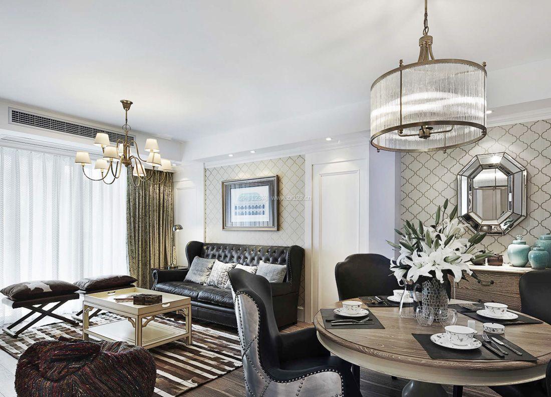 2017美式室内客厅餐厅一体装修效果图片案例图片