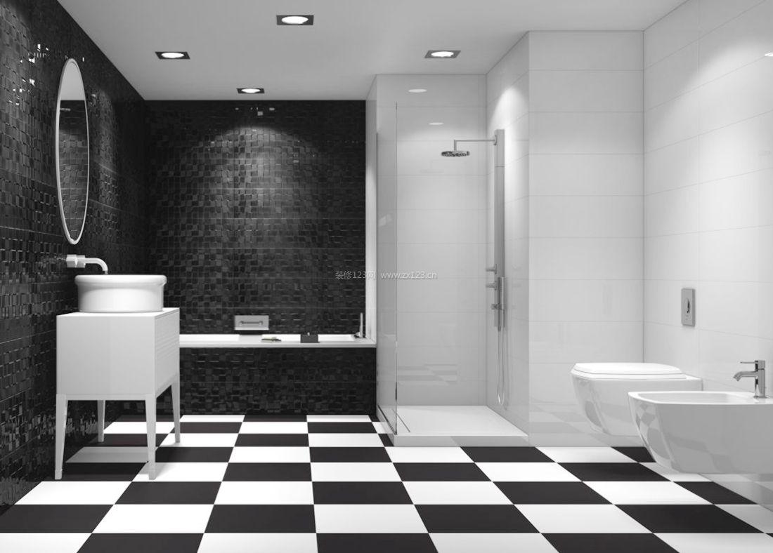 现代家居浴室设计黑白相间地砖装修效果图片