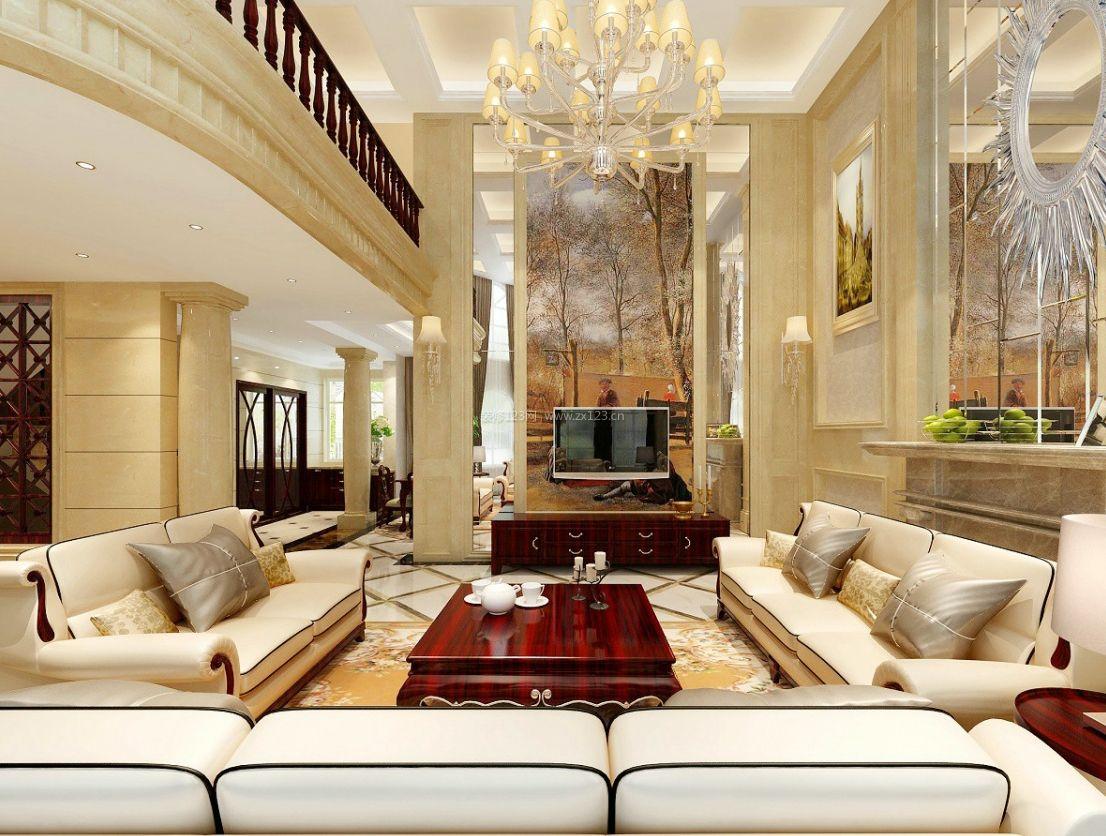 欧式家装别墅客厅隔断设计图2017_装修123效果图