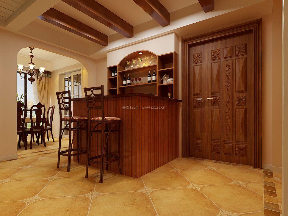 新中式家装酒柜吧台装修效果图