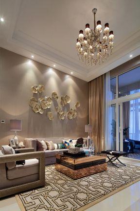 欧式复式楼家装 客厅沙发背景墙效果图图片