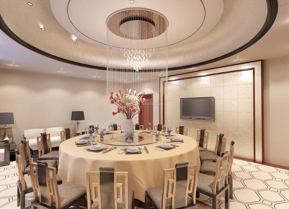 最新欧式餐厅圆形吊顶造型装修效果图片
