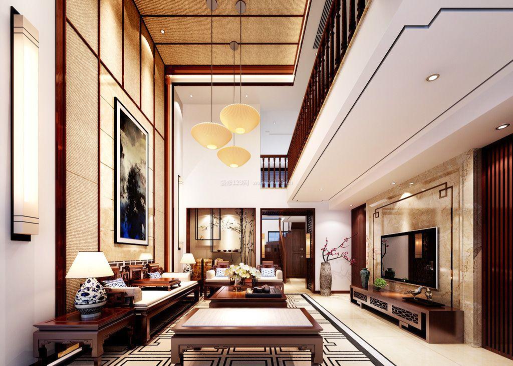 2017中式风格别墅客厅吊顶设计装修图大全图片