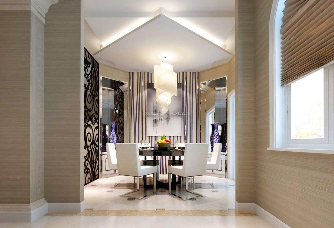 现代欧式餐厅吊顶造型装修效果图
