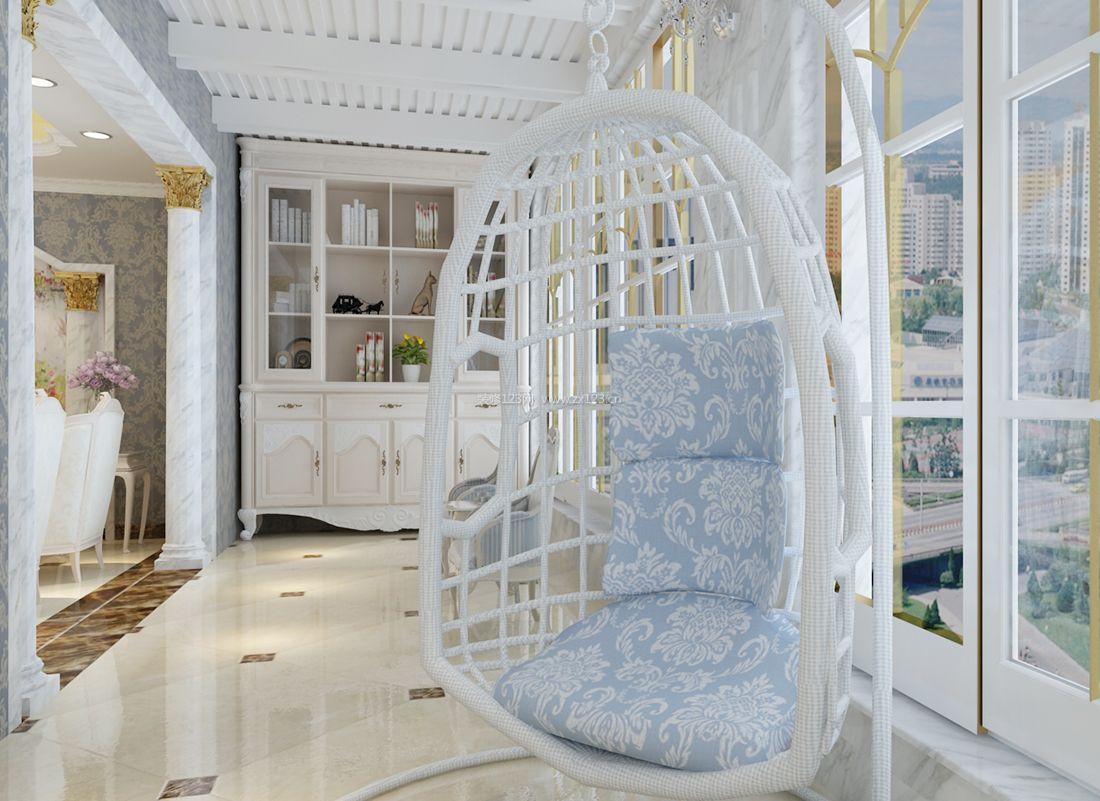 欧式家庭阳台休闲创意椅子装修效果图片2017
