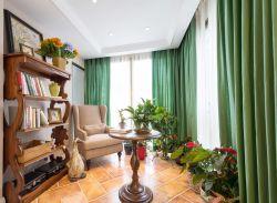 家庭陽臺綠色窗簾裝飾圖片