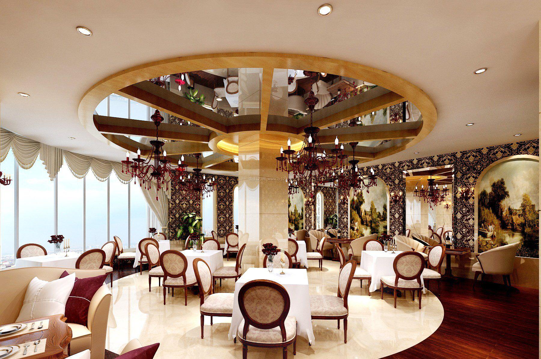 现代欧式混搭风格大型咖啡厅吊顶图片