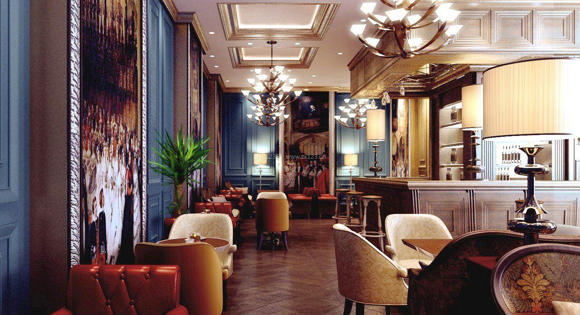 现代欧式混搭风格咖啡厅吊顶图片大全图片
