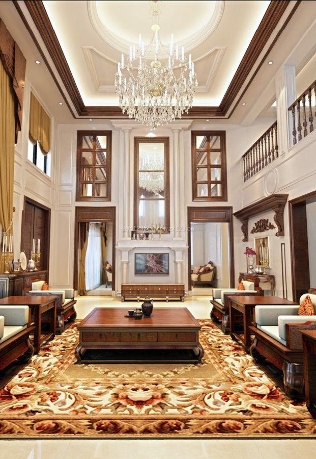 中式豪华别墅内部客厅隔断装修效果图片
