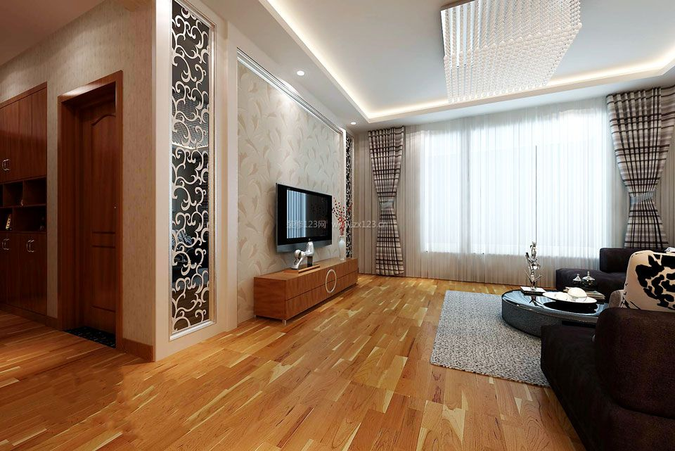 现代简约客厅实木电视柜装修效果图