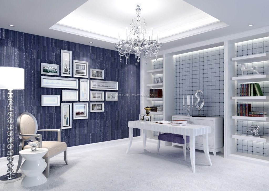2017简欧式书房照片墙装修效果图片欣赏
