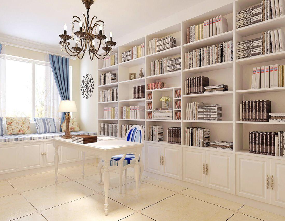 简欧式地中海书房布艺窗帘装饰装修效果图片