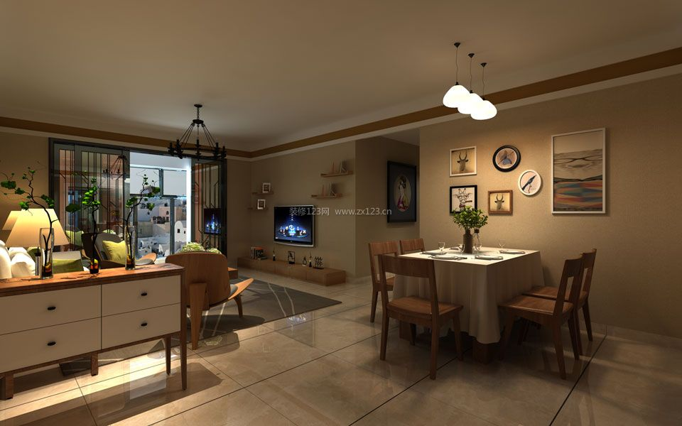 简单中式风格餐厅餐桌桌布装修效果图片