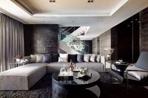 130平米客廳簡單   黑白時尚家居