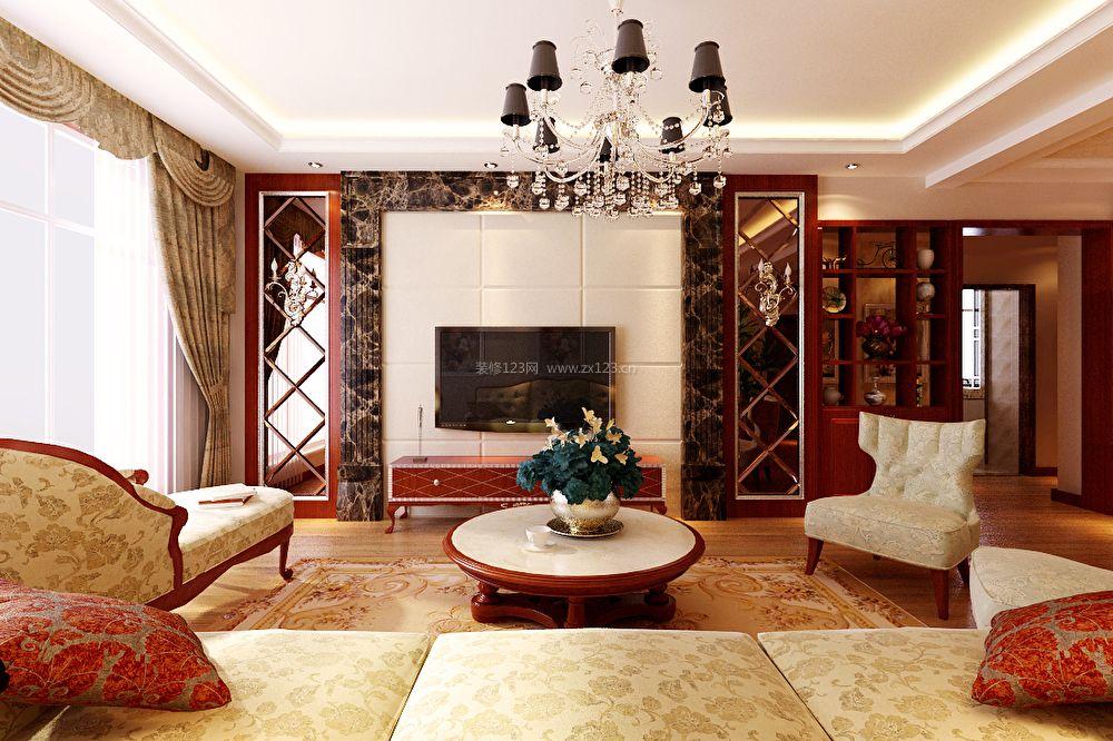 美式客厅瓷砖电视墙装修效果图
