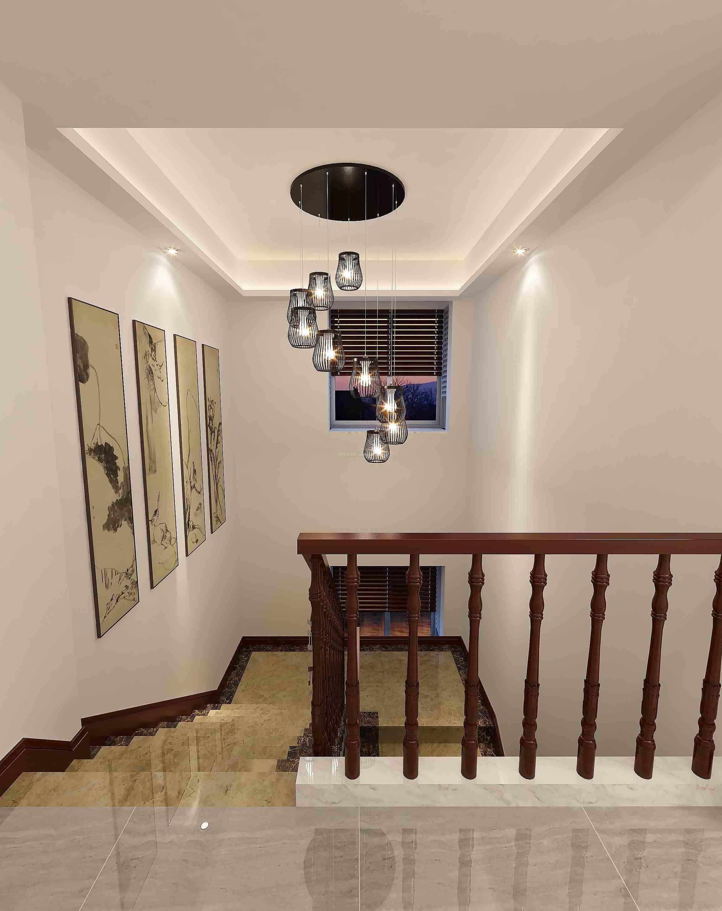 家装效果图 中式 新中式别墅实木楼梯扶手装修效果图 提供者:   ←