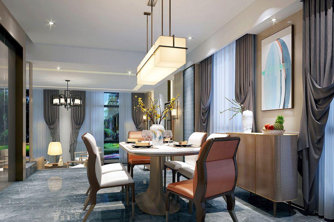 高级别墅餐厅新中式装饰元素设计图片2017