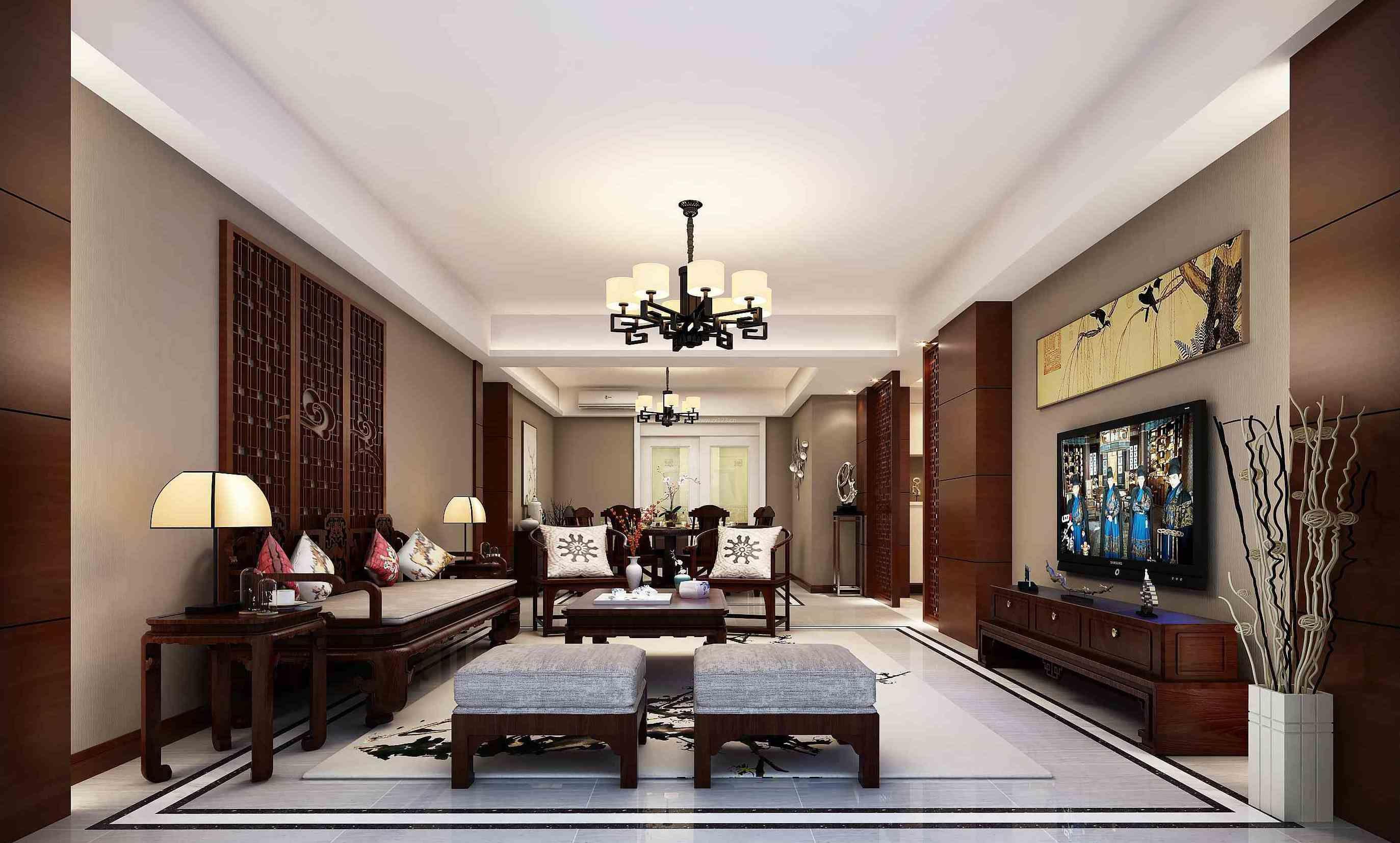 新中式家装客厅实木沙发装修效果图片大全