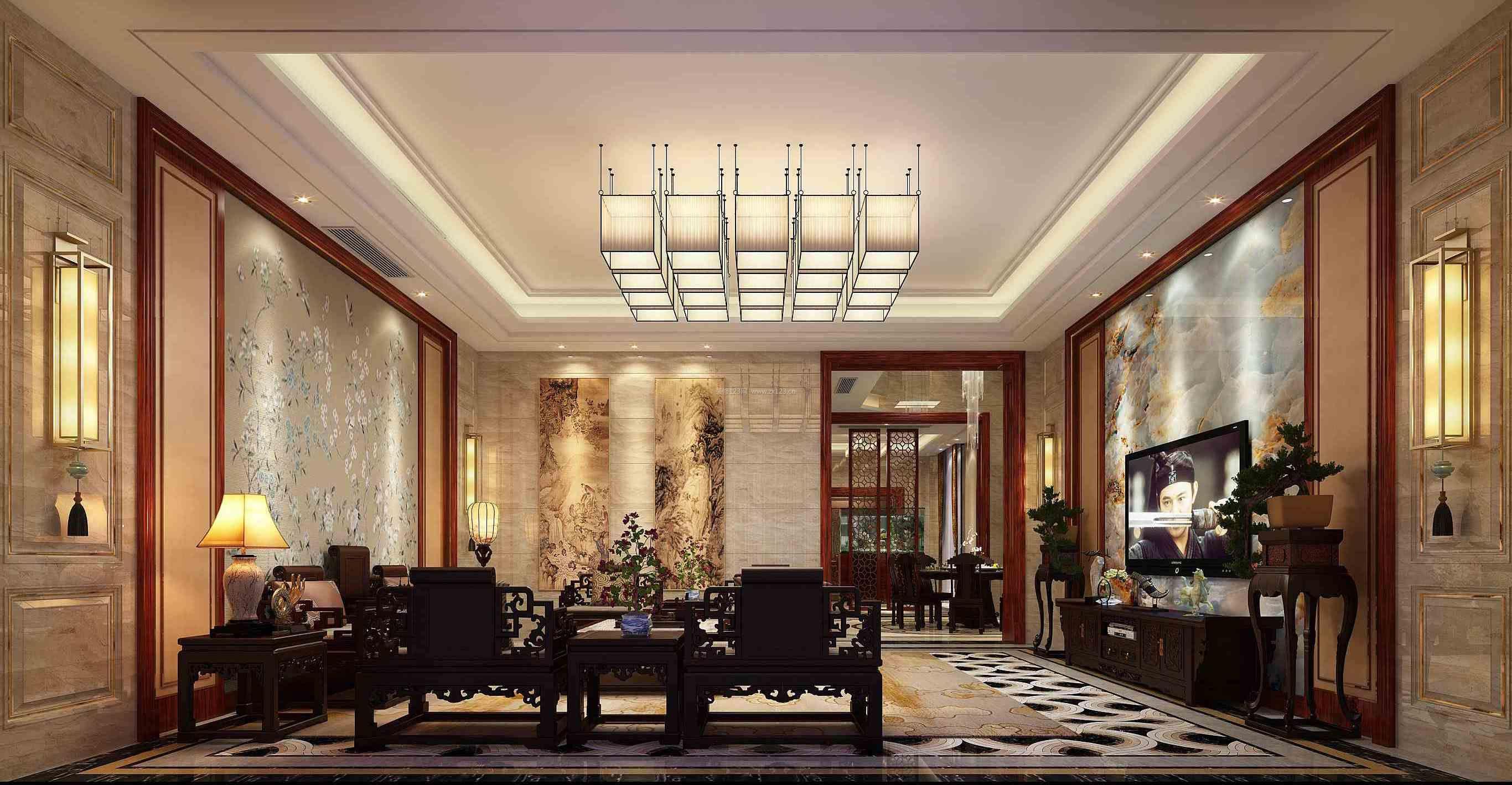 中式别墅客厅微晶石电视背景墙设计图