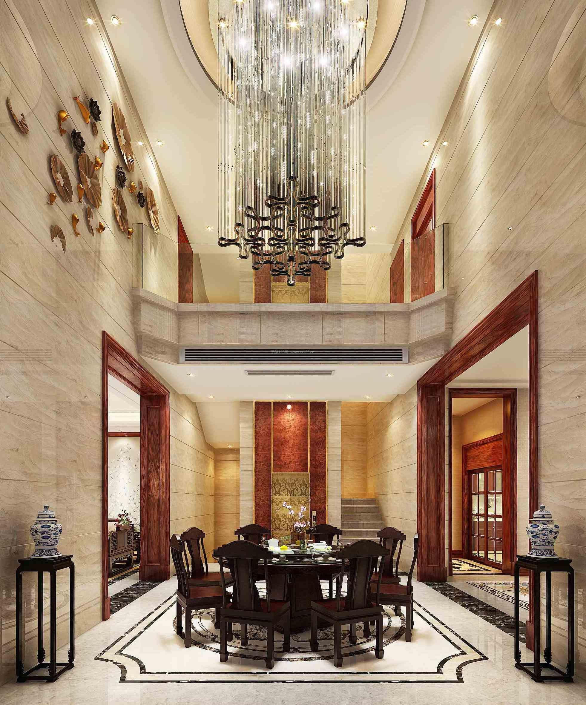 2017新中式风格别墅餐厅实木餐桌装修效果图片图片