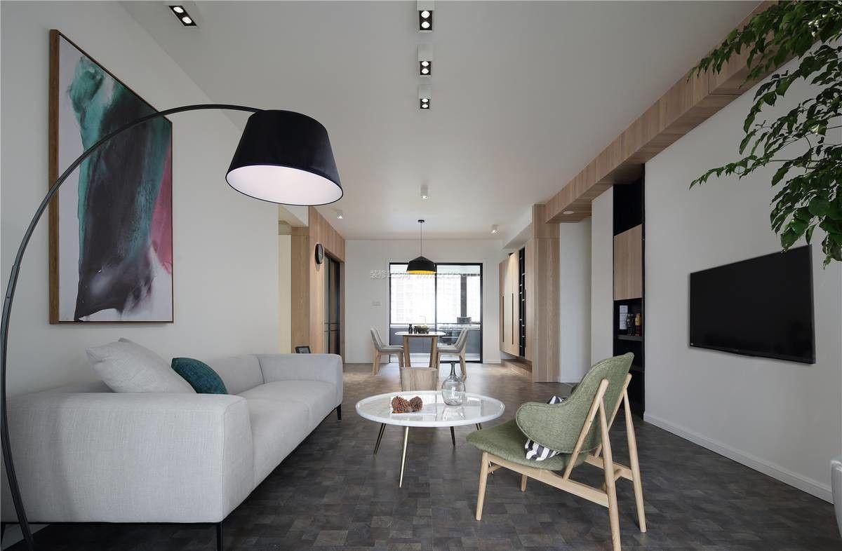 北欧风格70平米样板房客厅简约电视墙装修效果图图片