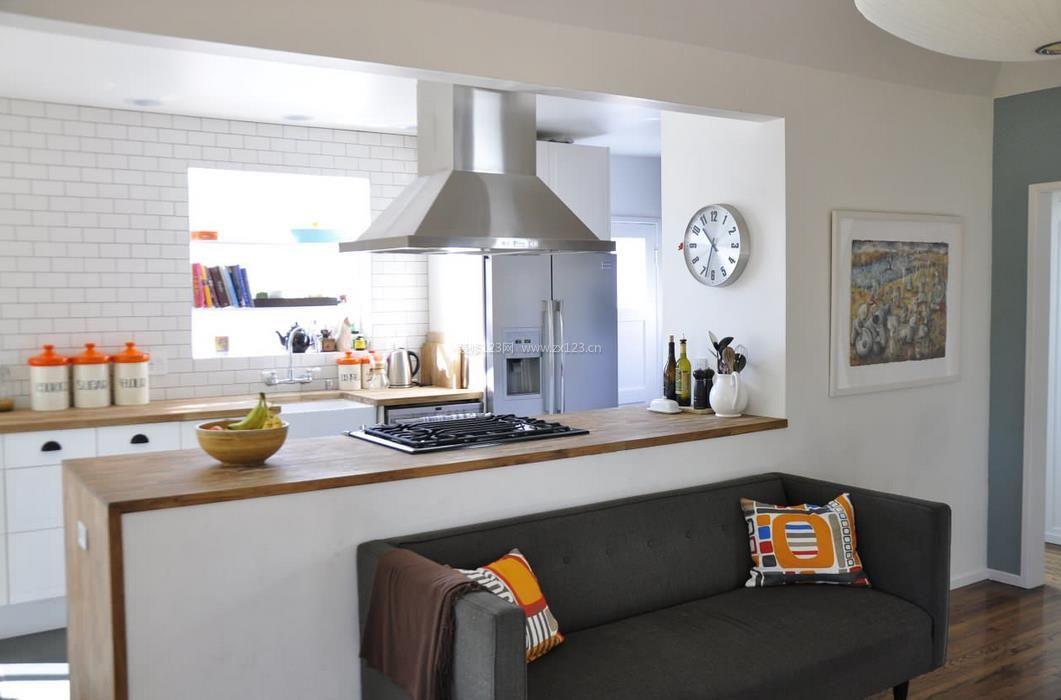 半开放式厨房设计效果图片_装修123效果图