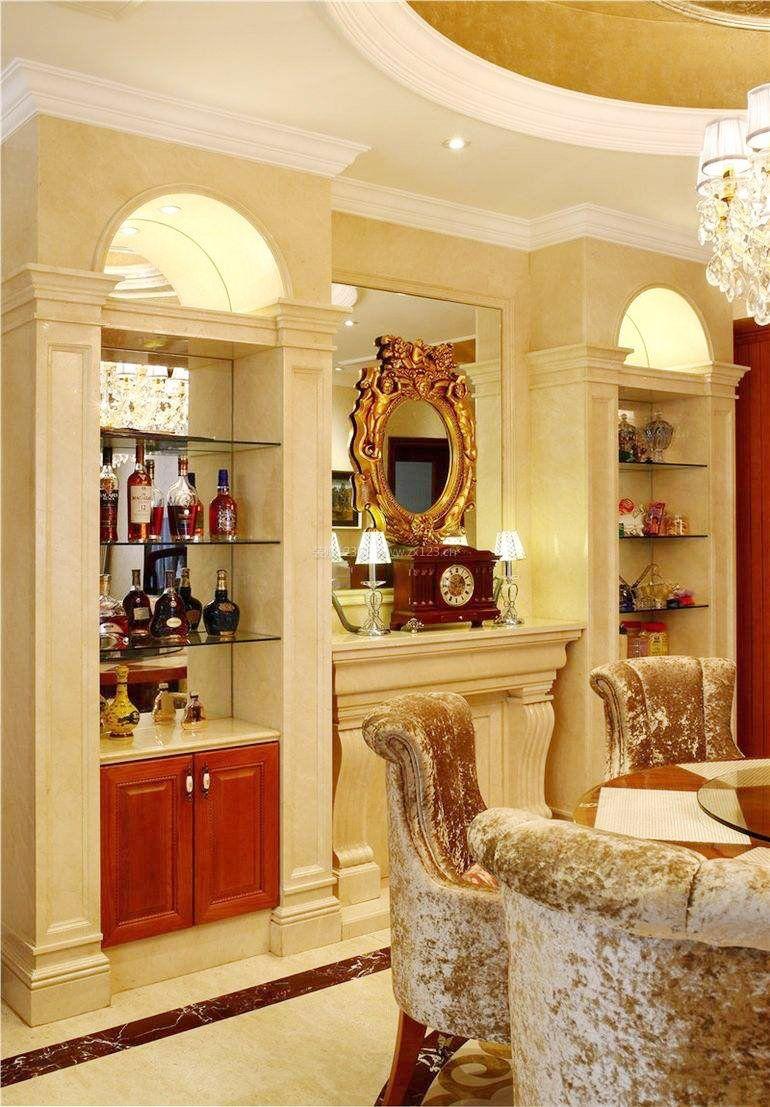欧式餐厅室内酒柜装饰品图片