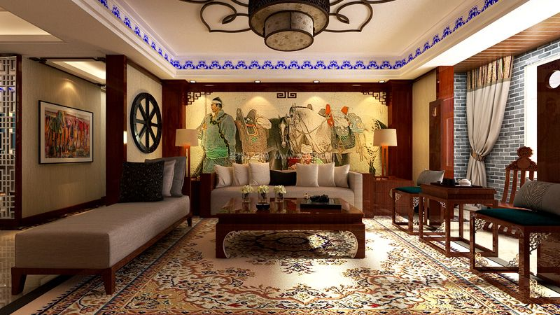 兴泰东河湾190平米蒙古风格沙发背景墙效果图呼和浩特城市人家装饰