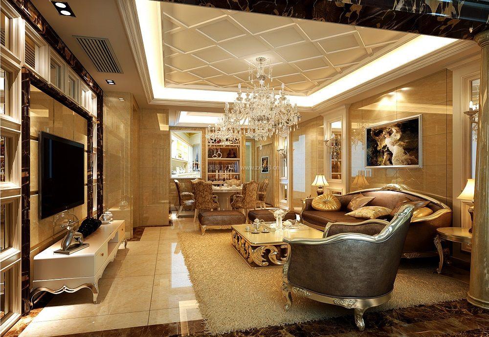 最新欧式家装客厅石膏线吊顶装修效果图