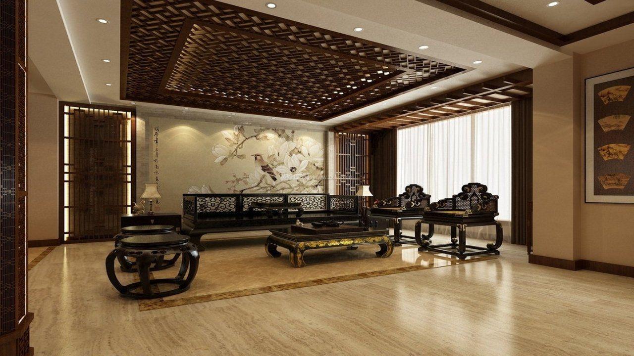 家装效果图 中式 现代中式客厅吊顶装潢效果图 提供者:   ← → 可以