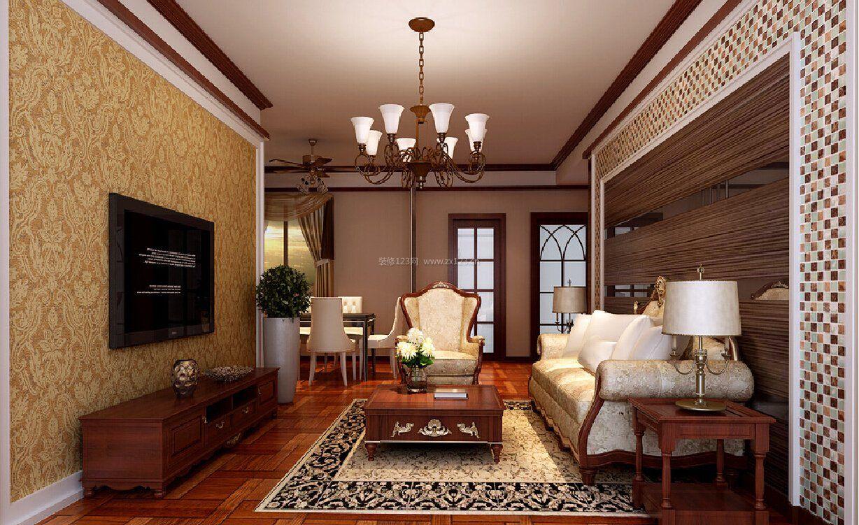 简欧风格客厅家庭电视背景墙墙纸装修