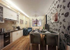 餐廳廚房隔斷柜造型 長形客廳裝修效果圖