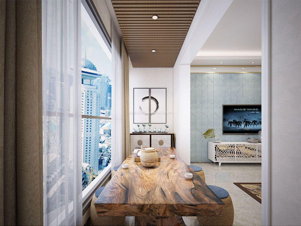 客厅阳台生态木吊顶装修效果图欣赏