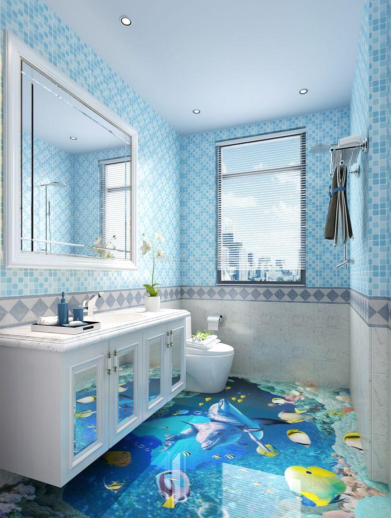 现代卫生间3d瓷砖贴图装修案例_装修123效果图